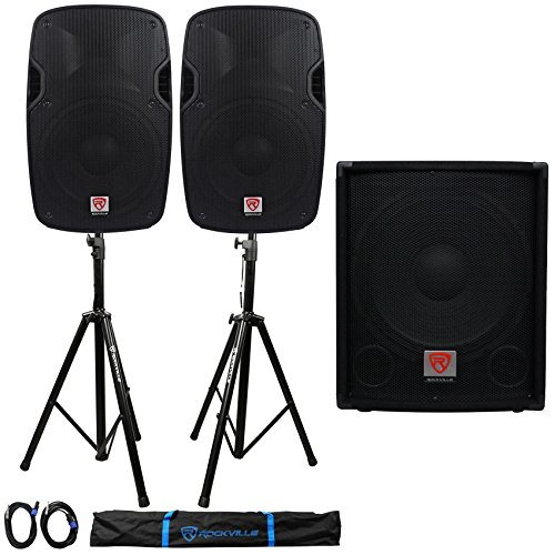 Package: (2)Rockville SPGN128 12'' Passive 8Ohm Lightweight DJ/PA Speakers 2400W Peak+15'' 700W Passive Pro DJ Sub+Pair of Adjustable Pro PA Speaker Stands+(2)1/4'' to SpeakOn NL-4 Cables+Carrying Case by Rockville