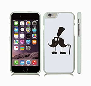 iStar Cases? iPhone 6 Plus Case with Mustache Man with Top Hat, Monocle and Cane , Snap-on Cover, Hard Carrying Case (White)