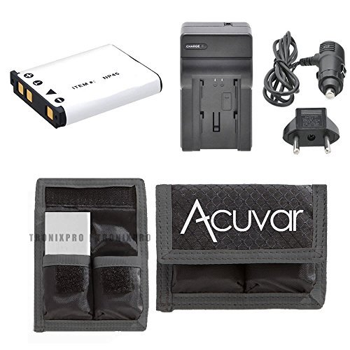 NP-45 Li-Ion Rechargeable Battery + Car/Home Charger + Acuvar Battery Pouch for Fujifilm FinePix fd Z10, Z20, Z100, Z200, Z20fd, Z250, Z30, NP-45A, Z30WP, Z31, Z33, Z33WP & More (Battery Z10)