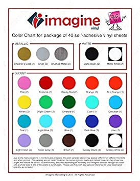 iImagine Vinyl 40-Sheets of Premium Permanent Self Adhesive Vinyl Sheets Glossy, Matte and Metallic Cricut Assorted Colors 12 x 12 Silhouette Cameo Machines for Craft Cutters