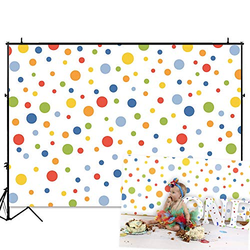 Funnytree 7x5FT Colorful Dot Photography Backdrop for Cartoon Baby Shower 1st Birthday Party Dessert Table Banner Cake Smash Background Photo Booth (Customizable Background Color)