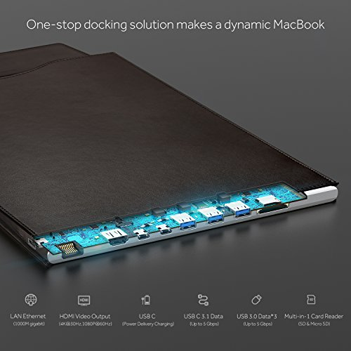 DockCase Ultimate Docking Station and Leather Sleeve Case Bag for MacBook Pro 13'' Made from October 2016 or Later with HDMI, USB-C, USB3.0, SD and MicroSD Multi Ports - Brown by DockCase (Image #3)