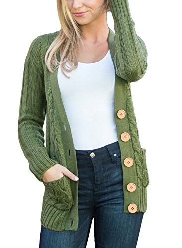 Blibea Womens Winter Long Sleeve Soft Warm Knit Cardigans Button Down Cable Sweater Coats Jacket Pockets Large Army Green ()