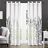 Exclusive Home Curtains Wilshire Burnout Sheer Window Curtain Panel Pair with Grommet Top, 96' Length, White, 2 Piece