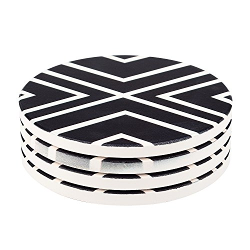 Absorbent Stone Coaster Set (Seamersey Geometric Round Absorbent Natural Ceramic Thirsty Stone Coaster Set for Drinks - Set of 4)