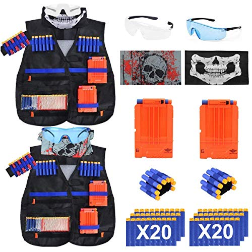 EXSPORT 2 Sets Tactical Vest Kits for Nerf Gun , 2 Pack N-Strike Elite Tactical Vest Jacket with 2 Wrist Bands, 2 Quick Reload Clips, 2 Protective Glasses 40 Bullets and 2 Face Tube Mask for Kids Fun