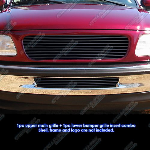APS Compatible with 1997-1998 Ford F-150 2WD Black Billet Grille Grill Upper+Lower Combo Insert - 1997 1998 F150 Billet Ford