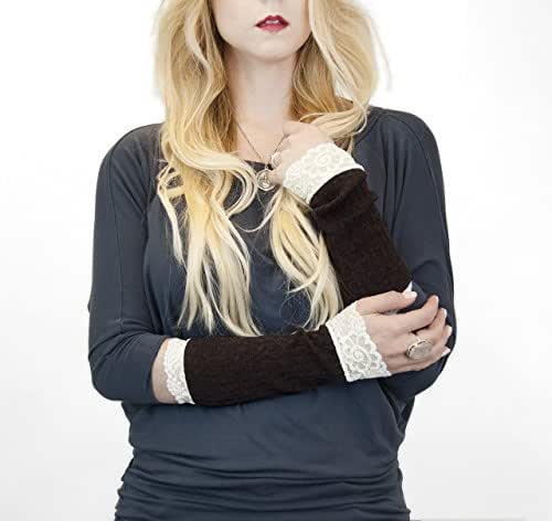 Long Lace Ribbed Knit Arm Warmers (Brown)