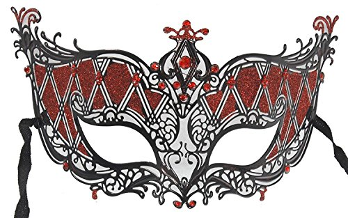 Hagora, Women's Queen Of Hearts Style Red And Black Tone Laser Cut Metal Mask -
