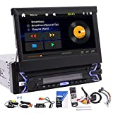 Bluetooth Car Radio GPS Stereo 1 Din 7'' Foldable Capacitive Touch Screen GPS Navigation FM AM Player with USB/AUX-in/SD Slot Single Din Car Video Head Unit 2 Types of UIs with Wireless Backup Camer