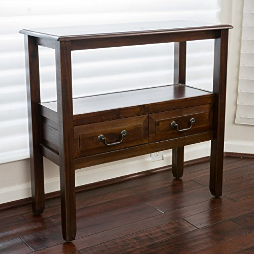 Modern Rustic Acacia Wood Accent Console Table with Shelf and 2 Drawer – Includes Modhaus Living Pen (Brown Mahogany) Review