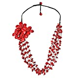AeraVida Handmade Reconstructed Red Coral Floral with Cotton Wax Rope Strand Necklace