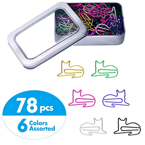 78 Pcs Adorable Cat Animal Shaped Paper Memo Clips Bookmark Assorted Colors in Gift Box for Students, Kids, Teachers