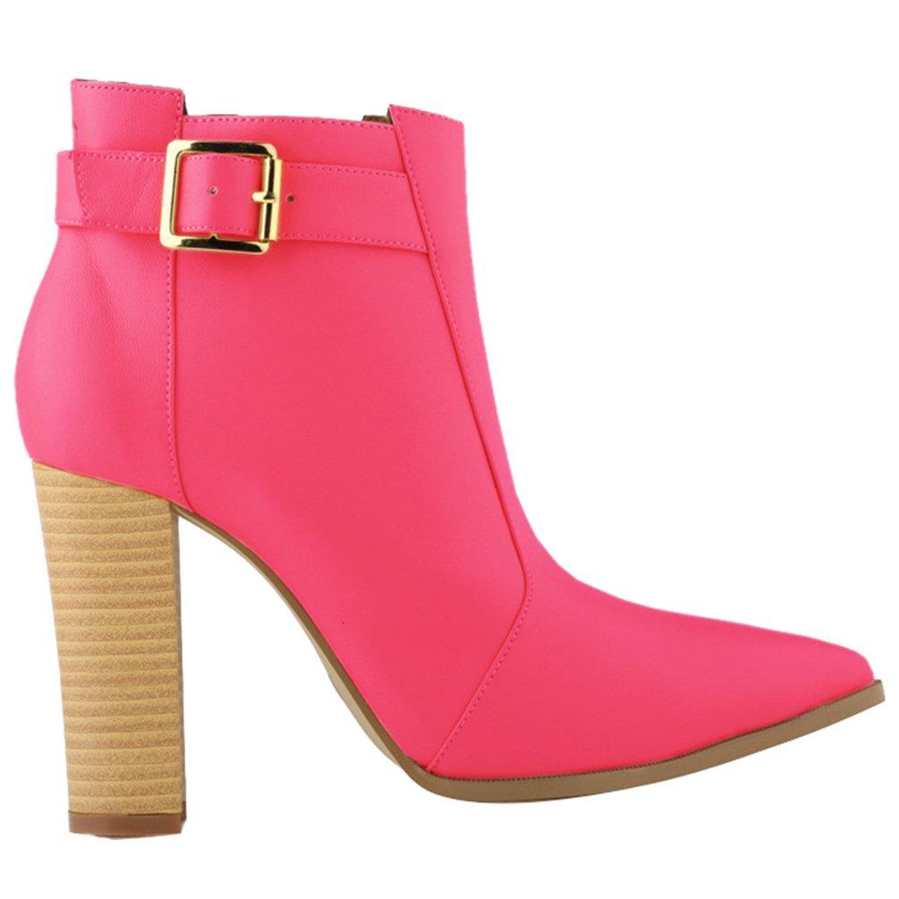 WanYang Frauen Boots High Heel Damen Stiefeletten Absatz Ankle Fruuml;hling und Herbst40 EU(Fu?l?nge:25CM/9.84?|Rose