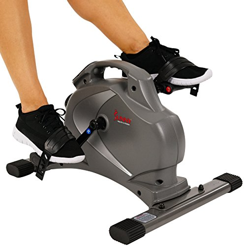 Hand Pedal - Sunny Health & Fitness SF-B0418 Magnetic Mini Exercise Bike, Gray