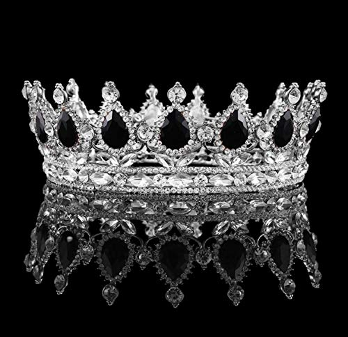 Vintage Baroque Queen King Bride Tiara Crown For Women Headdress Prom Bridal Wedding Tiaras And Crowns Hair Jewelry Accessories Silver Plated Black