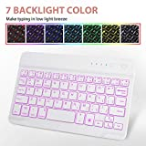 iPad Mini Keyboard Case - Boriyuan 7 Colors Backlit Detachable White Keyboard Slim Leather Folio Smart Cover for Apple iPad Mini 5 2019/iPad Mini 1 2 3 4 - Rose Gold