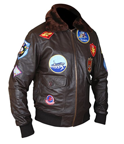 F&H Men's Top Gun Pete Maverick Tom Cruise Genuine Leather Bomber Jacket L Brown ()