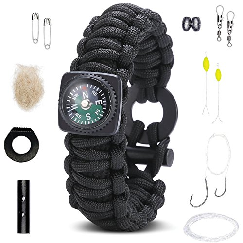 Survival Bracelet: Best Paracord Wristband With Compass Wrist Strap Rescue Gear. Emergency Fire Starter Kit Tactical Rope Cord Ultimate Bracelets for …