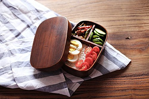 Lautechco® Japanese Bento Boxes Wood Lunch Box Handmade Natural Wooden Sushi Box Tableware Bowl Food Container