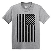 Tcombo Big Black American Flag - Distressed - Toddler Little Boy/Infant T-shirt (2T, Light Gray)