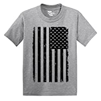 Big Black American Flag - Distressed - Toddler Little Boy / INFANT T-shirt (2...