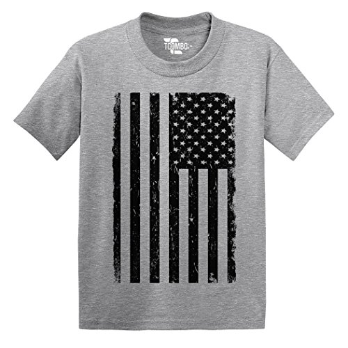 Tcombo Big Black American Flag - Distressed - Toddler Little Boy/Infant T-Shirt (24 Months, Light (Blank Toddler Shirts)