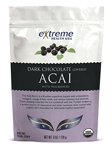 (Extreme Health USA Organic Acai with Mulberries Covered with Dark Chocolate, 6-Ounce)