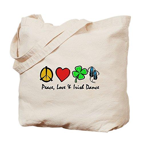 CafePress Peace Love Irish Dance Natural Canvas Tote Bag, Cloth Shopping Bag