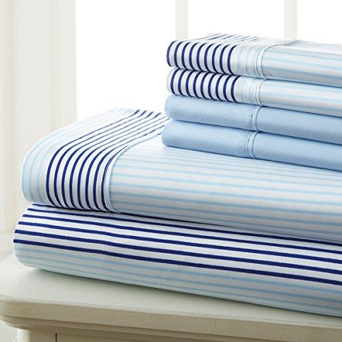 Spirit Linen Hotel 5Th Ave Prestige Home Collection 6 Piece Sheet Set, Queen, Blue City Stripe Stripe Pillowcase Set