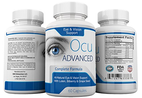 All Natural Vision Support Formula by OcuAdvanced - Eye Care Daily Multi-Vitamins with Lutein, Bilberry Fruit and Grape Seed Extracts and Minerals - Healthy and Protective Supplement - 60 Capsules