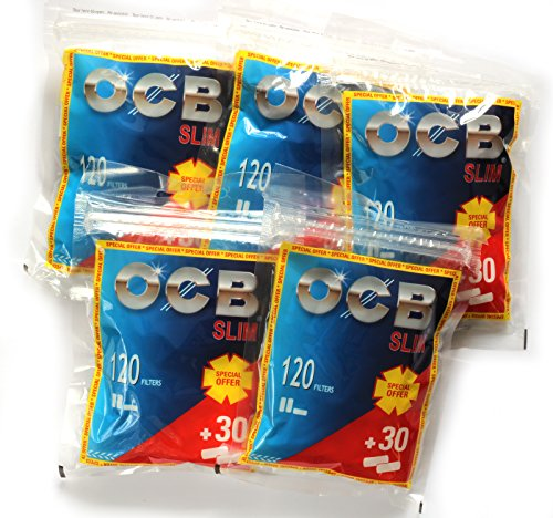 Ocb Slim Cigarette Filter Tips   5 X 150 Filters