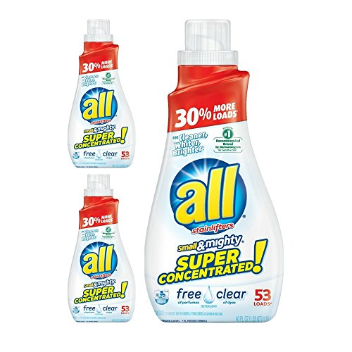 All Small & Mighty HE Laundry Detergent, Free & Clear, 40 Ounce (3 Pack)