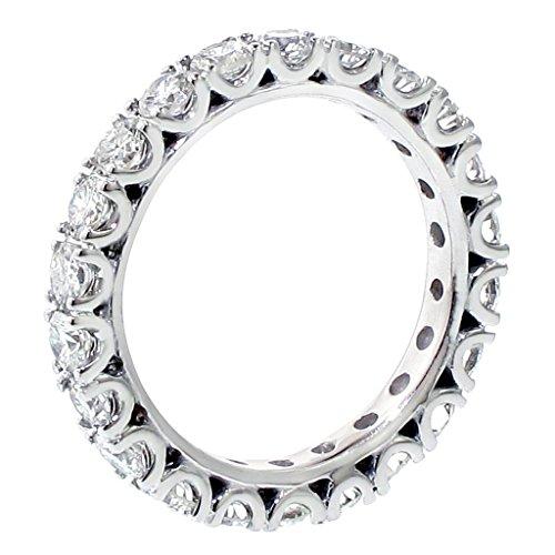 VIP Jewelry Art 2.00 CT TW Diamond Eternity Anniversary Wedding Band in Fishtail Platinum Setting - Size 4 (Diamond 2ct Eternity Tw Band)