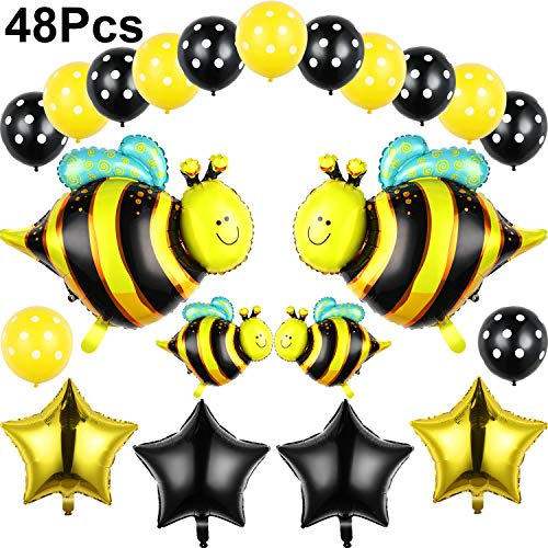 (48 Pieces Bumblebee Party Decoration Bumble Bee Latex And Mylar Balloons Set For Baby Shower,Happy Bee Day Inspired Balloons Suppiles)