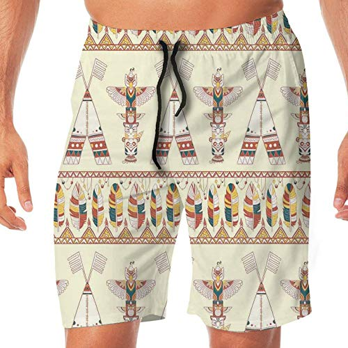 Haixia Men Fahsion Board Short Native American Colorful Native American Ethnic by Haixia