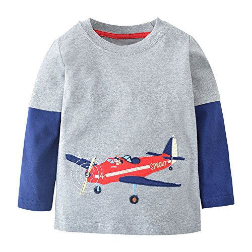 (Qtake Fashion Boys Clothes Rocket Cotton Crewneck Long Sleeve Cartoon T-Shirt Kids Sweatshirt)