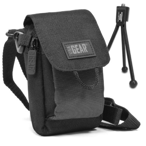 Compact Camera Case Zip Bag Holster Pouch with Mini Tripod , Adjustable Shoulder Strap & Carry Belt Loop by USA Gear - For Sony DSCW800 DSCWX350 Canon IXUS 185 and more