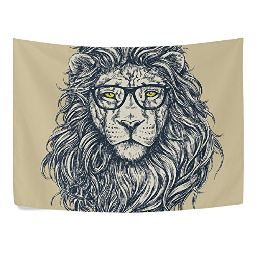 Sunlome Forest Lion King Home Decor, Hipster Lion Tapestry Wall Decor Art for Living Room Bedroom Decoration 90 X 60 Inches