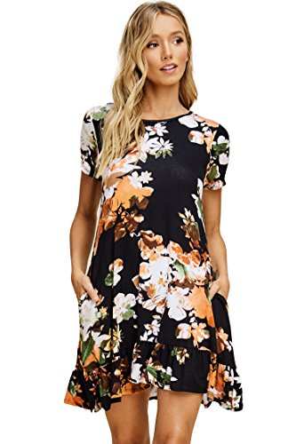 a6fdd6f161e5 Short Comfy Mini Pockets Neck Swing Ruffle Bottom Annabelle Floral with  Black Dresses Sleeve Round Women's E5xqg