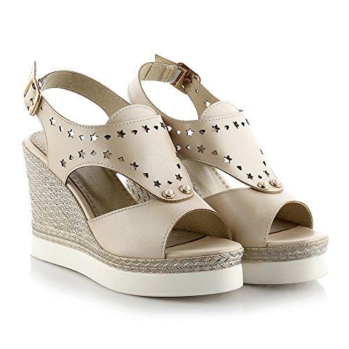 AgooLar Solid Sandals Open Pu Buckle Women's Toe Heels apricot High xnvv0Ogqr8