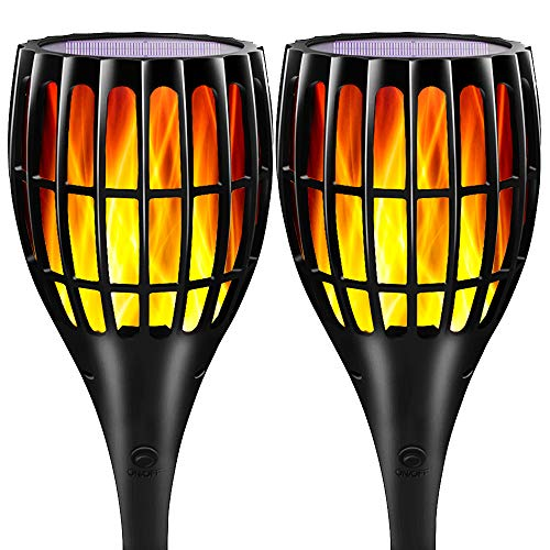 YUJENY Solar Flame Torch Lights Upgraded, Waterproof Dance Flame Lighting Solar Garden Light Outdoor Landscape Decoration Lighting Dusk to Dawn Auto On/Off (2 Pack)