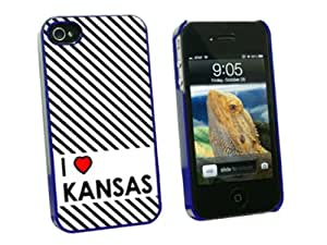 Graphics and More I Love Heart Kansas Snap-On Hard Protective Case for Apple iPhone 4/4S - Non-Retail Packaging - Blue
