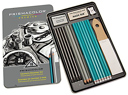 - Prismacolor 24261 Premier Graphite Drawing Pencils with Erasers & Sharpeners, 18-Piece Set