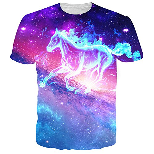 RAISEVERN Unisex Galaxy Horse Round Neck Novelty T shirts Clothes