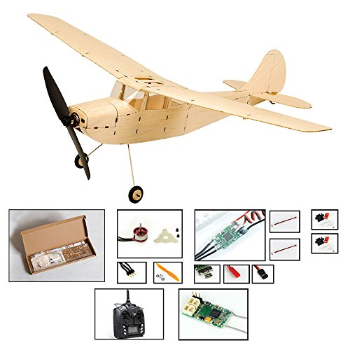 Electric Radio Controlled Airplane Cessna L-19, 445mm Wingspan Laser Cut Balsa Wood Plane Kits to Build, 3CH RC Airplane Aircraft Unassembeld Hobby KIt with Motor+ESC+Servo+TX/RX(Left Hand Throttle)