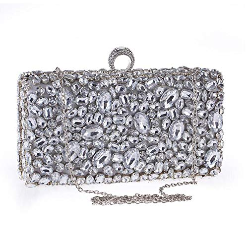 Crystal Evening Bag Clutches Lady Wedding Purse Rhinestones Handbags Silver Black Evening Clutch Bags,A - Handbag Jeweled Ivory