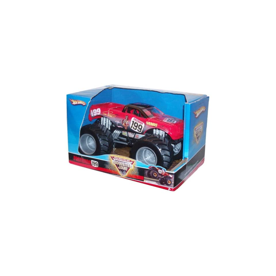 Hot Wheels Monster Jam 124 Scale Die Cast Official Monster Truck 2008 Series   TRAVIS PASTRANA #199 with Monster Tires, Working Suspension and 4 Wheel Steering (Dimension 7 L x 5 1/2 W x 4 1/2 H)