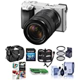 Sony Alpha A6300 Mirrorless Camera Silver with 18-135mm f/3.5-6.3 OSS Zoom Lens - Bundle with 16GB SDHC Card, Camera Case, 55mm Filter Kit, Cleaning KIt, Memory Wallet, Card Reader, PC Software Pack