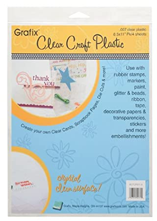Grafix Clear Craft Plastic 0.020 Thickness 12 x 12 Pack of 4